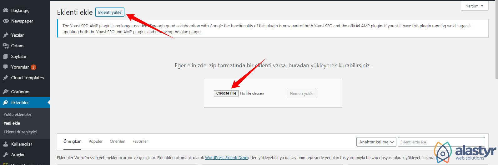 Wordpress Zip uzantılı eklenti yükleme
