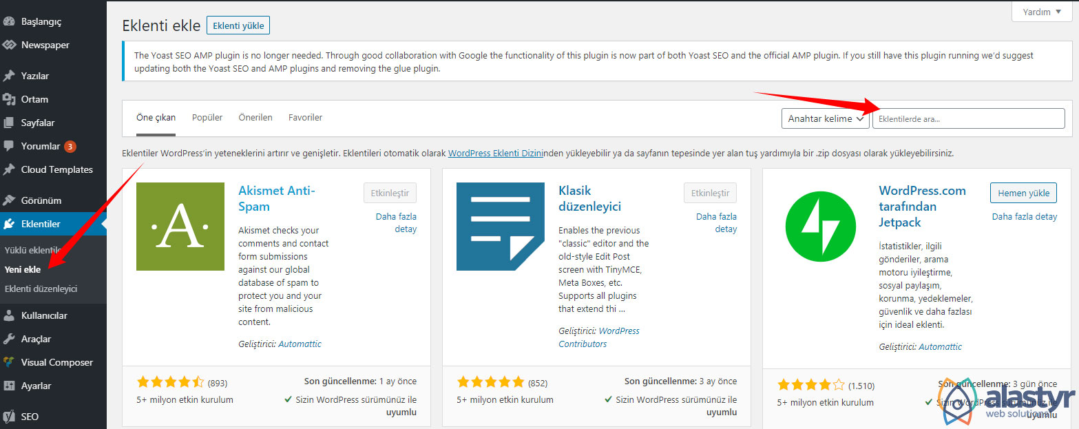 Wordpress eklenti kütüphanesinden eklenti yükleme